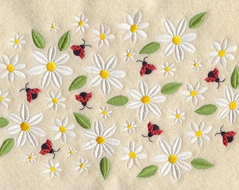 Daisies and Ladybugs Embroidered on Made-to-Order Pillow Cover