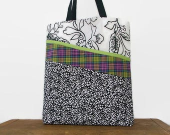 Tote Bag Made from Repurposed Materials, Rainbow Plaid, Black and White, Eco Friendly, Large Front Pocket, Upcycled Recycled Repurposed