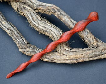 Double twisted Red Heart Wood Hairstick