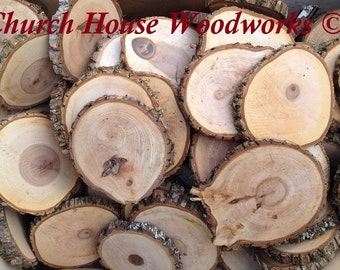 """20 qty 4"""" to 5"""" wood slices, rustic coasters, tree coasters, decoration,  rustic weddings, rustic wedding coasters"""""""
