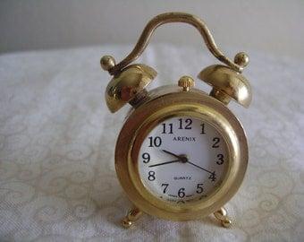 Minature Gold Tone Clock Arenix Quartz