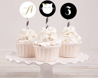 PURRfect Gold Kitty Cat Printable Party Circles Cupcake Toppers : Printable party Designs by The Paper Doll