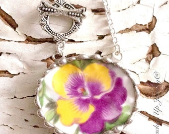 Broken China Jewelry, Broken China Necklace, Purple Pansy China Necklace