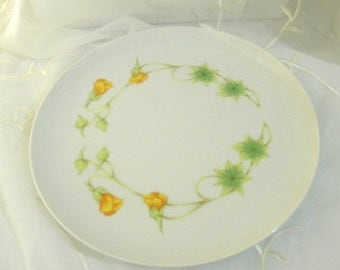 Spring Sale Toscany China Plate, Monterrey Pattern, Green Leaves, Yellow Orange Blossoms