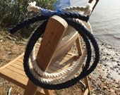 Tied the Knot Nautical Wedding Ceremony Rope - 5ft Navy Blue Rope and 5ft Off White Cotton Rope