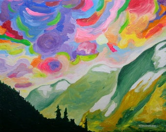 Art Print, First Snow on the Coquihalla, Colorful Canadian Mountain and Sky Art