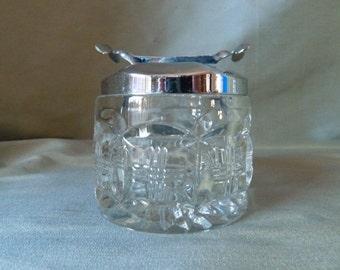 pickle jar with pinchers, vintage olive/anchovies/gherkin jar