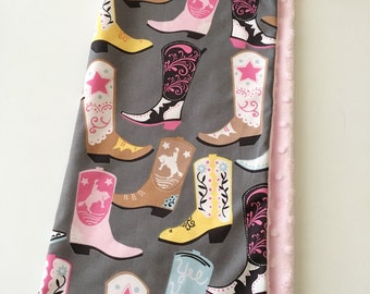 18 x 18 Lovey/Security Blanket...Pink Cowboy Boots with Minky...Can be Personalized ...Quick Ship!...Shower Chic