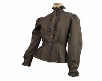 Brown Vintage 1970s Blouse Ruffles Long Sleeves Secretary Blouse Button Down M