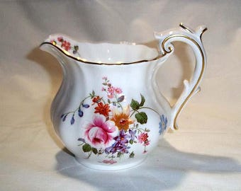 Vintage Hand Painted Royal Crown Derby Bone China POSIES Cream Pitcher