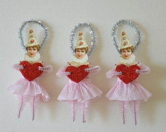 Valentine Ornaments / Vintage Style Chenille Ornaments / Set Of 3 Ornaments