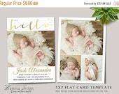 ON SALE Birth Announcement  Template, Photography Photoshop 5x7 Card Template, sku ba16-3