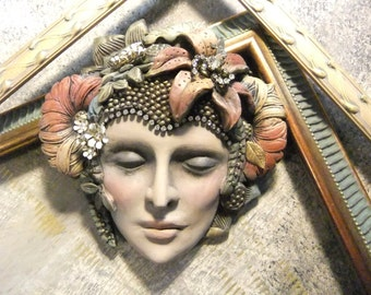 Flower Girl, Flora, Summer Wall Art, Vintage Jewelry, Hand Sculpted Mask, Tiger Lily, OOAK Mask