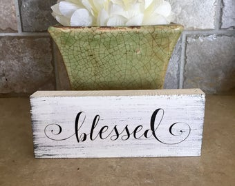 Blessed, Mini Wood Sign, Home Decor