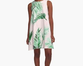 Pink Palm Leaf Dress, pink women's dress, light pink dress, palm leaf dress, pink leaf dress, blush pink dress, sleeveless dress, a line