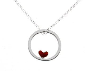 Reversible Valentine red heart necklace sterling silver