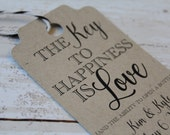 Wedding Favor Tags, Key to Happiness, MEDIUM, Favor Tag, Wedding Favor Tag, Wedding Tags, Bridal Shower Tags