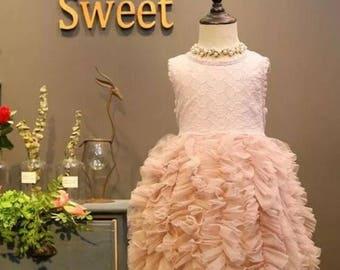 Princess ruffle Pageant Dress |  Pageant Dress | blush Pageant Dress | Bow Dress