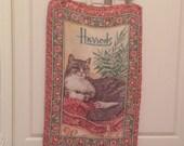Vintage Harrods linen tea towel / cat tea towel / kitchen dish towel / cat decor / Harrods Kingsbridge / Irish linen towel