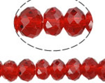 36pcs 6x8mm Red Crystals Beads 8mm DARK Red Rondelles Like 8x6mm 5040 SIAM Swarovski Crystal A Grade Diy Jewelry Making Beading Supplies