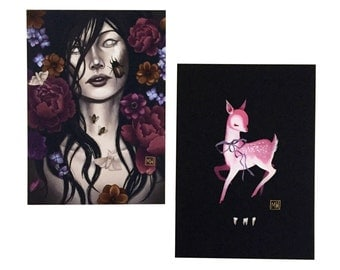 "Small print set #3, ""Decay"" creepy art, cute kawaii art, deer, dark floral, death, bugs, flowers"