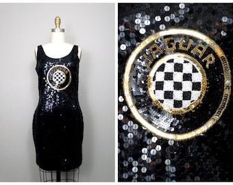 80s Novelty Sequin Dress // Jaguar Trophy Dress // Black Bodycon Sequined Beaded Party Dress