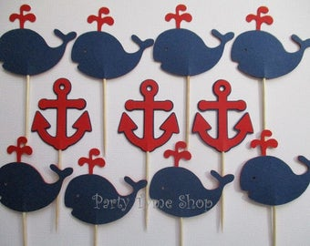 12 Anchor and Whale Nautical Cupcake Toppers, for Birthday or Baby Shower, Navy Blue and Red
