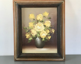 vintage framed painting yellow flowers vase still life roses with gray vase