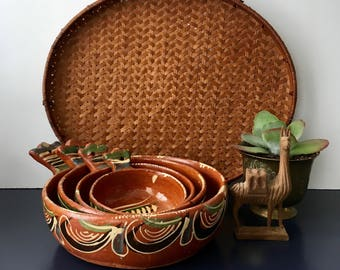 vintage Mexican clay painted bowls wall decor boho southwestern