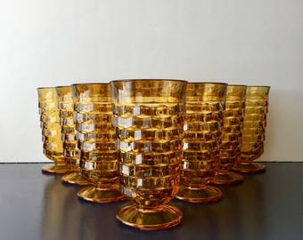 vintage amber Colony Whitehall textured footed glassware flared iced tea glass