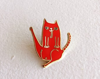 Valentine Red Cat Butt Lapel Pin - 1.25in gold-