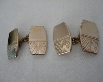 Vintage Lightweight Goldtone Gents/Mens Cufflinks - Insignia Design - 1950's