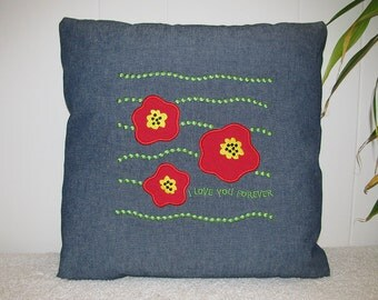 Blue Denim Pillow Cover - I LOVE YOU FOREVER - Red Poppies Embroidered Home Decor Accent Pillow - Gift for Anniversary or Engagement