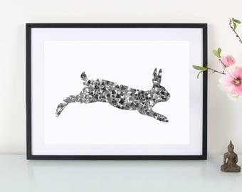 Art Print Hopping Bunny