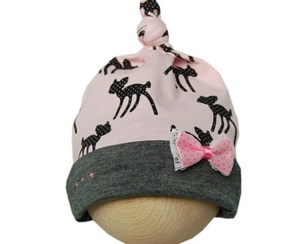Babymutsje met knoop en strik roze/antraciet grijs