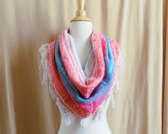 Coral, Pink, Turquoise Large Woven Blanket Cowl Scarf With Fringe- Mexican Blanket Scarf- Hipster Scarf- Bright Boho- Free Shipping to US