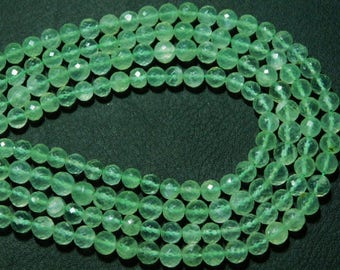 """AAA-Prehnite Faceted Disco Round Briolettes- 8""""Strand -Stones measure- 6mm"""