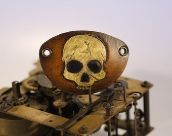 steampunk leather eye patch , skull