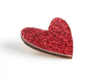 Red Glitter Heart Pin, Glitter Heart Brooch, Wooden Love Heart Brooch Pin, Valentines Pin