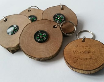 Personalised wooden compass key rings handmade out of hazel, keyring, keychain, compass, gifts for men, personalized, fathers day gifts