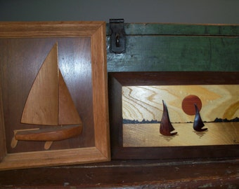 Set of 2 Vintage Hand Carved Wooden Sailboat Wall Art Pieces Ocean Captain Beach House Decor Sailing