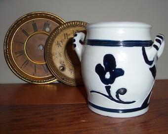 Handmade Salt Glaze Pottery Pot Gray Cobalt Blue Williamsburg