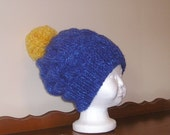 Custom Order: Knitted Cable Crush Winter Hat - Royal Blue with Buttercup Pom Pom - Child