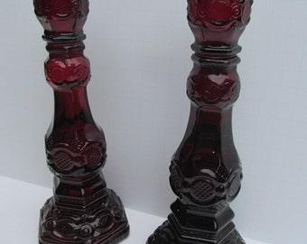 Pr Ruby Glass Candle Sticks Avon Cape Cod Candlesticks Bird of Paradise Cologne 1876 Avon Bottle  Red Candle Stick Holders Avon Bottles