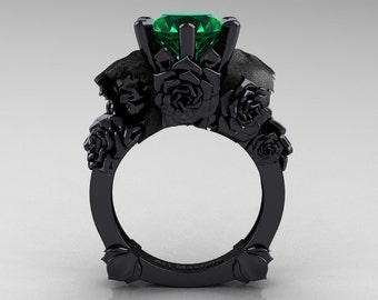 Love and Sorrow 5K Black Gold 3.0 Ct Emerald Skull and Rose Solitaire Engagement Ring R713-5KBGEM