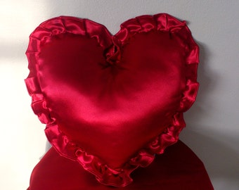 Red Satin Heart Pillow Cover/ Valentine's Day/Christmas/ 2 Decor Pillow/ Cover and Insert/ Made To Order