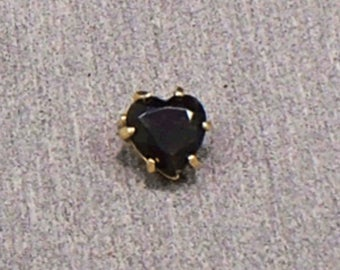 Vintage Smokey Topaz Faceted Heart Pin Mourning Jewelry