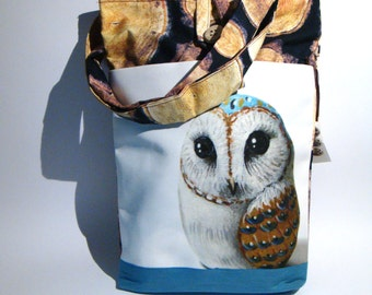 Barn owl, hand made tote bag, painted rock photography, forest's animals, wearable art
