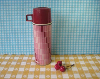 Vintage Thermos - Glass Insulated - Mod Pink - Gradient - Vacuum Bottle - Geometric - Ombre - King Seely - Mid Century 1970's