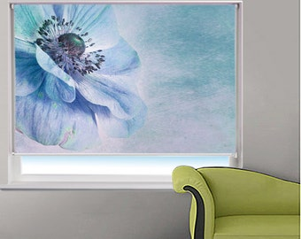 Shades of Blue Floral Picture Printed Photo Window Roller Blind - 1X55094